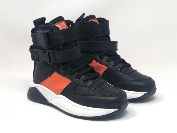 scarpetta nero piu arancio